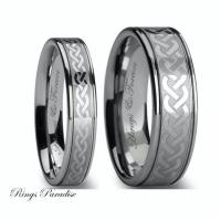 Tungsten Wedding Bands Set, Celtic, Celtic Ring, Tungsten ...