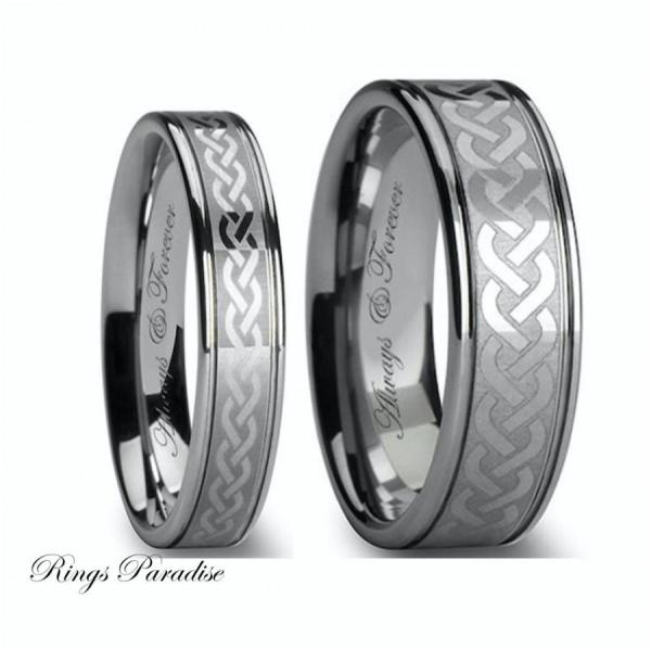 Celtic Tungsten Wedding Band Sets