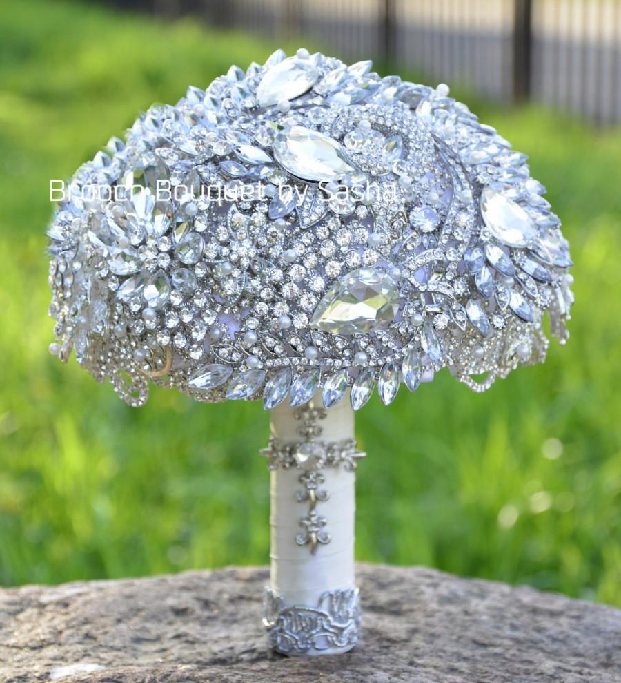 White Silver Wedding Brooch Bouquet Crystal Silver Brooch