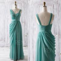 2016 Teal Bridesmaid Dress, Long Draped Wedding Dress ...