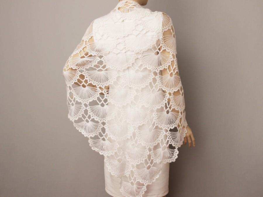 Bridesmaid Gift In White ,crochet Shawl Scarf Wedding Gift