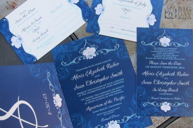 Elegant Orchid Wedding Invitation Suite Navy Blue