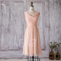 2016 Peach Bridesmaid Dress, Short Wedding Dress, Chiffon ...