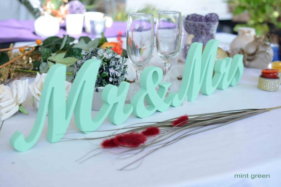 Mr And Mrs Wedding Letters- Mint Green Sign Wedding
