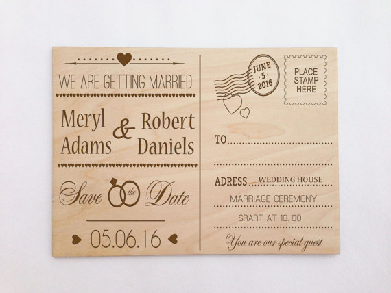 Custom Wooden Engraved Postcard Wedding Invitation