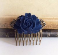 Navy Blue Wedding Comb Sapphire Blue Hair Accessories ...