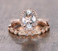 Oval Aquamarine Diamond, Halo Engagement Ring, Rose Gold ...