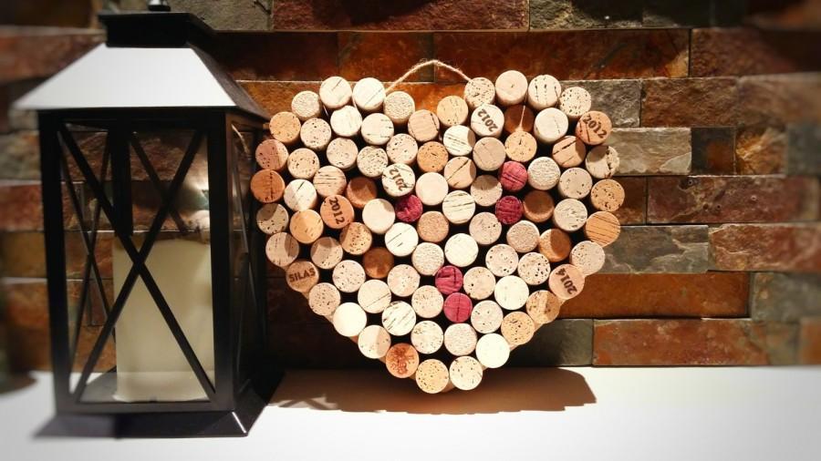 Wine Cork Heart; Wedding Decor; Housewarming Gift; Bridal