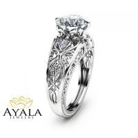 2 Carat Diamond Engagement Ring Unique 14K White Gold