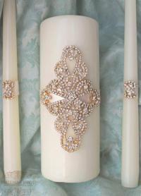 Unity Candle Set, Gold Wedding Candle Unity, Rhinestone