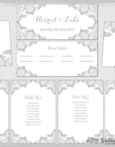 Wedding seating chart template silver gray antique lace printable table plan cards diy word instant download also rh weddbook