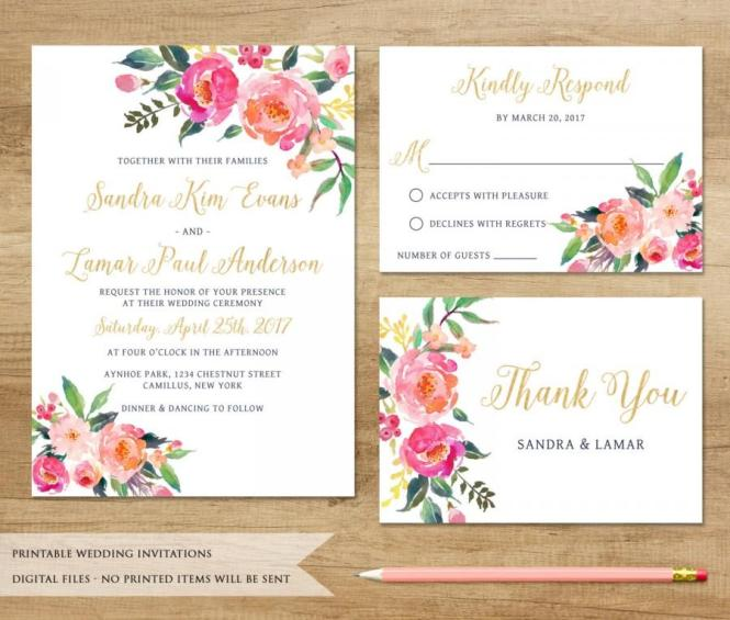 Watercolor Fl Wedding Invitation Printable