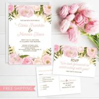 Pink Floral Wedding Invitation Set - Wedding Invite - RSVP ...