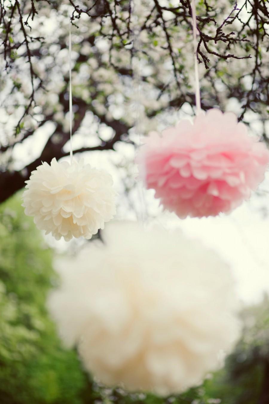 45 Mixed Sizetissue Paper Pompoms Value Set Wedding