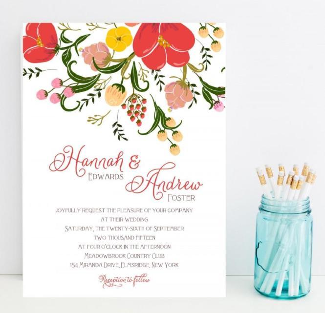 Red Orange Poppies Wedding Invitation