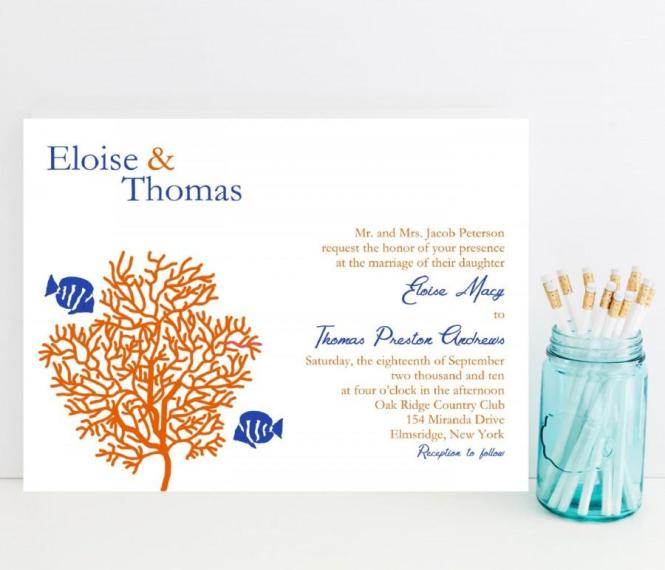 C Reef Wedding Invitation Tropical Fish Theme