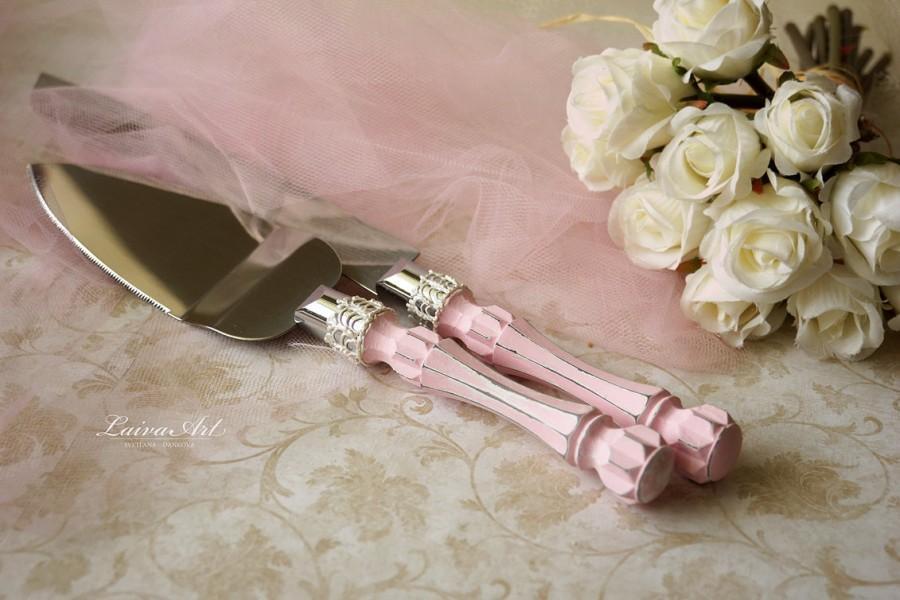 Blush Pink Wedding Cake Server Set & Knife Cake Cutting
