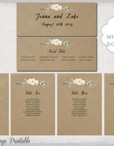 Rustic seating chart template printable cards diy kraft wedding table plan flowers you edit word instant download also rh weddbook