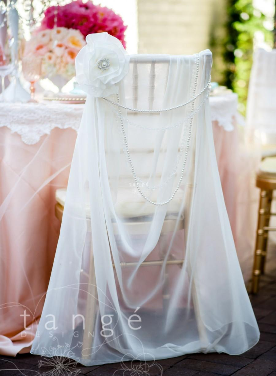 Chair Coverings Lovely Ivory Chiffon Chiavari Chair Cover With Pearl Brooch Flower