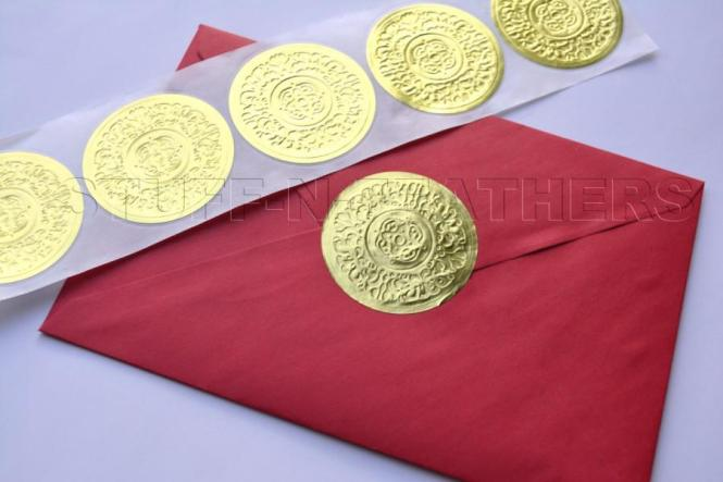Gold Foil Sticker Seals Large Round Embossed Stickers Use