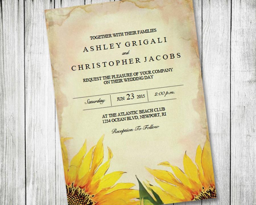 Printable Sunflower Wedding Invitation Vintage Rustic