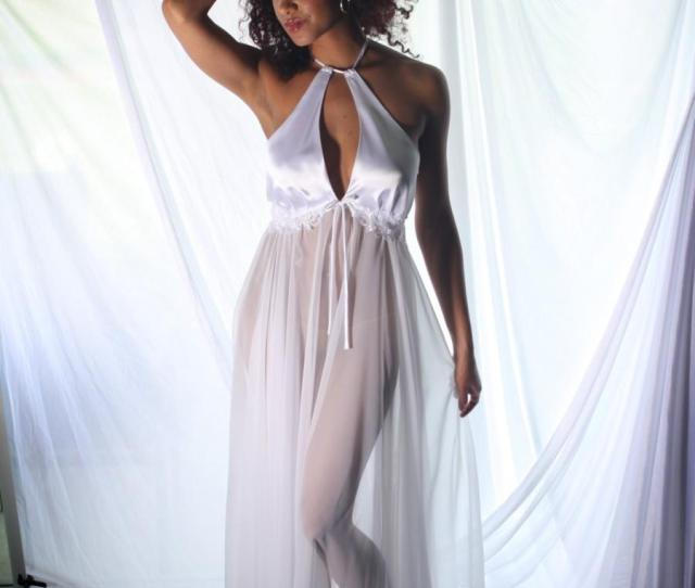Sheer Bridal Nightgown Wedding Trousseau Negligee With Lace Trim White Halter Bodice Honeymoon Sleepwear