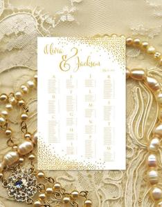 Wedding seating chart poster confetti gold reception plan rush digital file alphabetical or table no order portrait also rh weddbook