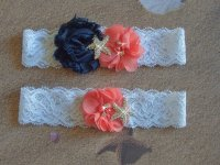 Garter, Beach Wedding Garter, Coral And Navy Garter Set