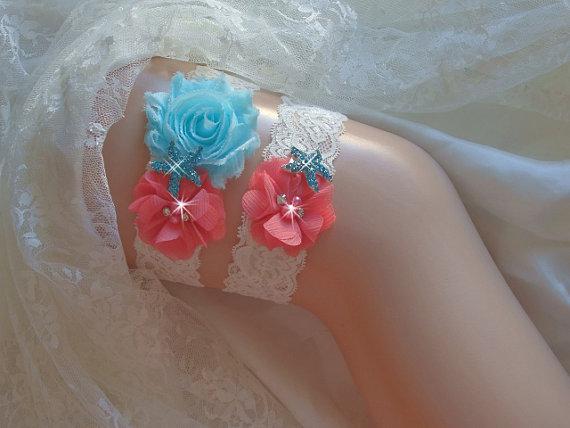 Beach Wedding Garter, Coral And Aqua Garter Set, Starfish