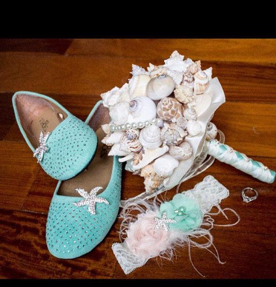 Beach Garter Set, Mint And Peach Wedding Garter, Curly