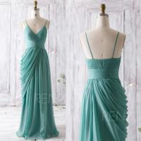 2016 Teal Bridesmaid Dress, Long Draped Wedding Dress, V ...