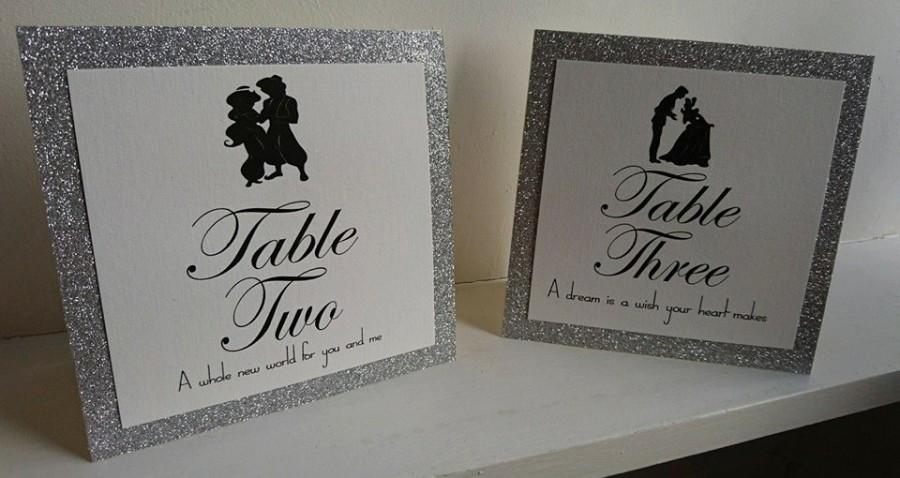Disney Theme Tent Card Table NameNumber Wedding Table