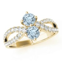 Aquamarine & Diamond Split Shank Ring 14k White Gold ...