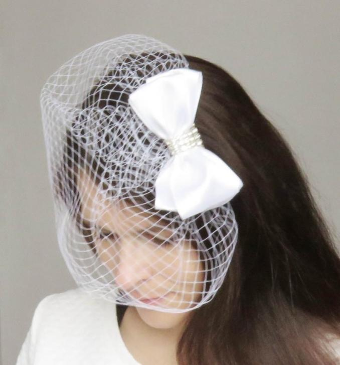 white satin bow wedding decorative haircomb veil/bridal hair