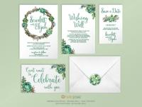 Succulent Woodland Boho Printable DIY Wedding Invitation ...