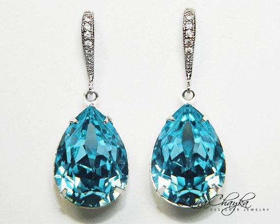 Aqua Blue Crystal Earrings Aquamarine Rhinestone Earrings