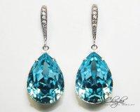 Aqua Blue Crystal Earrings Aquamarine Rhinestone Earrings ...