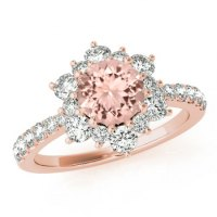 Morganite & Diamond Flower Lotus Halo Engagement Ring 14k ...
