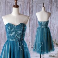 2016 Dark Teal Bridesmaid Dress, Mesh Wedding Dress, Lace ...