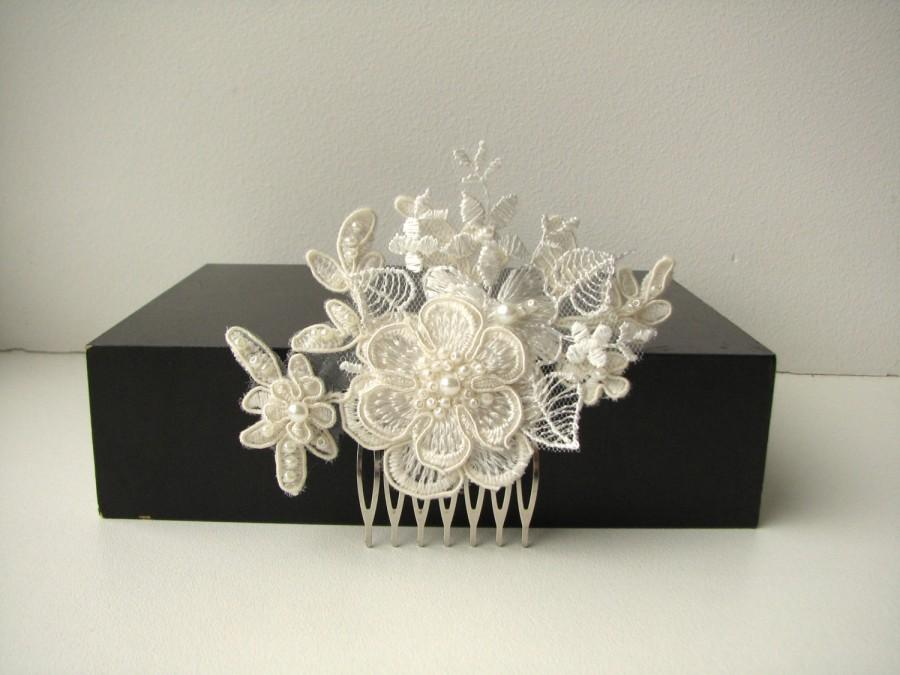 Bridal Lace Headpiece Hair Comb Ivory Floral Wedding Hair
