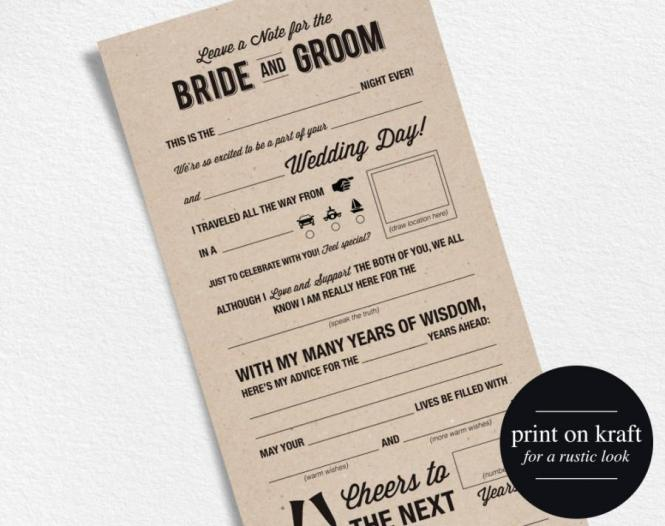 Wedding Advice Card Mad Libs Printable Marriage