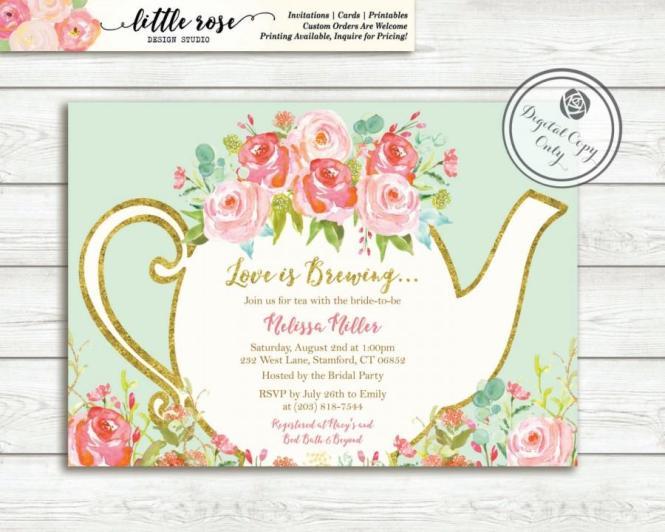 Printable Tea Party Bridal Shower Invitations Ewbs026