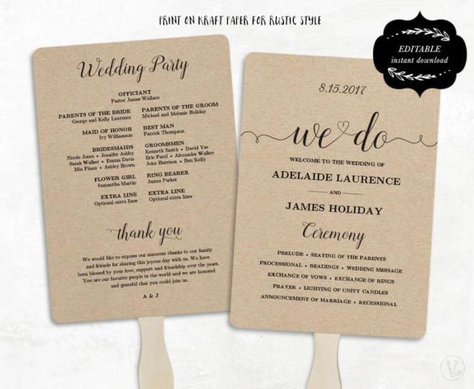 Printable Wedding Program Template Fan