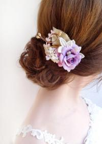 purple wedding flower hair accessories bridesmaid ...