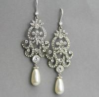 Long Bridal Chandelier Earrings , Long Wedding Earrings ...