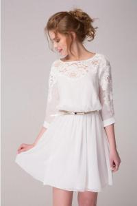 Cute White Chiffon Dress With Lace Flowers Short Dress ...