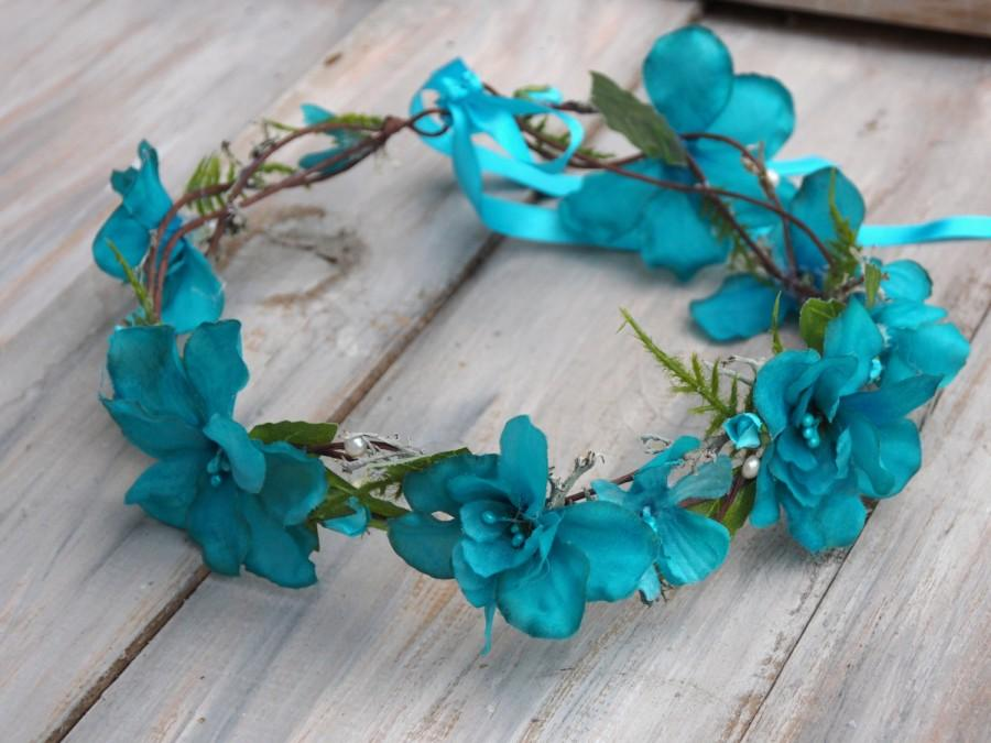 Blue Bridal Crown Flower Girl Halo Blue Head Piece Blue