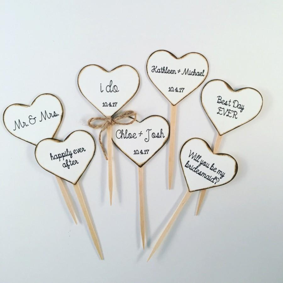 Rustic Heart Cupcake Toppers For Weddings And Bridal