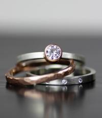 Modern Wedding Band Set, Gold And Diamond Stacking Wedding ...