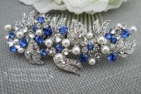 Pearl And Rhinestone Hair Piece Wedding Blue Hair Comb ...